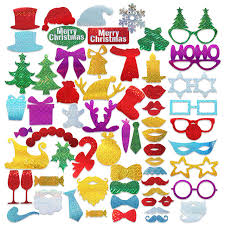 Christmas Photo Booth Props 60pcs Glitter Party Photo Booth Props Diy Kit For Merry Christmas