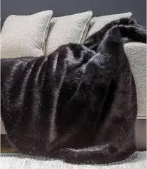 plaids fausse fourrure pour canapé couvre lit fausse fourrure luxe noir bagheera 250 x 250 cm plaid