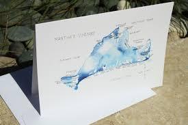 watercolor island map greeting cards martha s vineyard