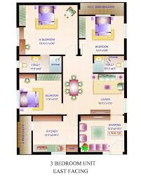 3 bhk home design home design square feet house plans three bedroom east facing