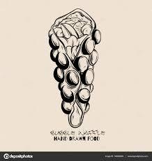 vector hand drawn illustration of bubble hong kong waffles