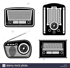 Radio Black Background Radio Old Retro Vintage Icon Stock Vector Illustration Black