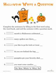 writing questions halloween worksheet education com