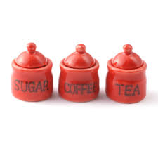 Red Kitchen Canisters Ceramic by D2209 Set Of Red Tea Coffee And Sugar Canisters Minimum World