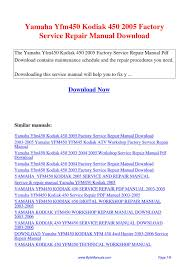 yamaha yfm450 kodiak 450 2005 factory service repair manual pdf by