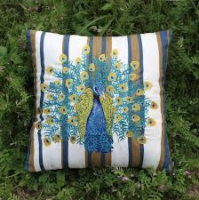 vezo home embroider peacock bird print stripes cotton linen sofa