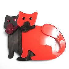 orange and khaki twin cats brooch u2013 pinkpoca