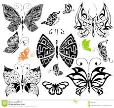 set of tattoo butterflies 2 tattoo design stock images image