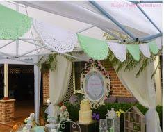 enchanted garden baby shower dessert table backdrop and