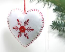 felt christmas ornament handmade heart ornament red and