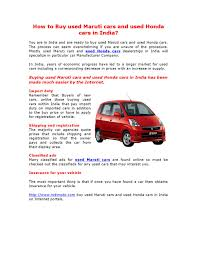 online quote for car insurance india how to buy used maruti cars and used honda cars in india by