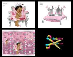 printable royal princess pink baby shower decorations african american