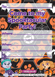 halloween paw patrol invitation nick jr uk