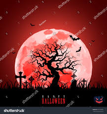 halloween bloody moon tree graveyard pumpkin stock vector