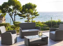 canapé de jardin en résine tressée salon de jardin resine tressee hesperide bora bora noir