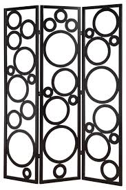 Room Divider Screen by Contemporary Delicate Black Circles Pine Wood 3 Panels Room