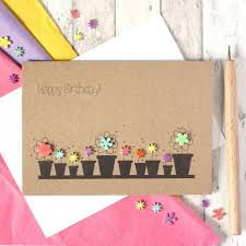 card birthday personalised flower pots happy birthday card by