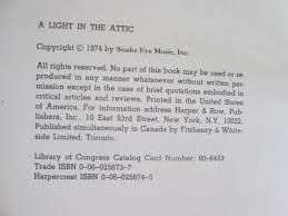 Light In The Attic Book A Light In The Attic By Shel Silverstein Harper U0026 Row Hbdj 1974