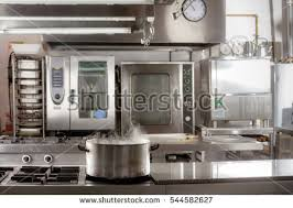 restaurant kitchen furniture real industrial kitchen pots professional restaurant stock photo