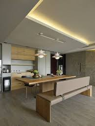 awesome asian kitchen design with dining table and long chair