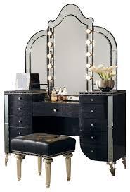 Michael Amini Bedroom by Aico Michael Amini Hollywood Swank Upholstered Vanity Set Black