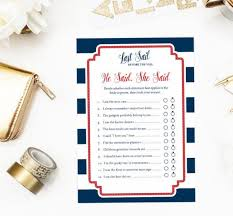 Words Of Wisdom Bridal Shower Game He Said She Said Game Nautical Bridal Shower Printable Game
