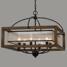 Square Chandelier Square Wood Frame And Sheer Chandelier 6 Light Shades Of Light
