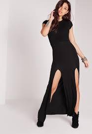 split front t shirt maxi dress black missguided