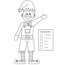 christmas elf colour by numbers cleverpatch