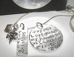 Personalized Hand Stamped Jewelry May The Lord Guide My Hands Nurses Instructor Gift Hand Stamped