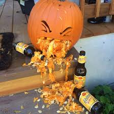 puking drunk pumpkin halloween pumpkin drunk on shiner bock