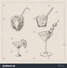 cocktail drawing alcohol martini coconut cocktail drink glass stock vector