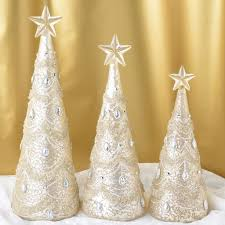 set of 3 jeweled illuminated mercury glass trees robertson