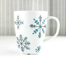 mugs design hand painted porcelain mug snowflake design tea