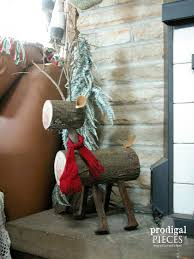 log reindeer repurposed log reindeer christmas ideas tour prodigal pieces