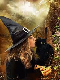 halloween little witch and black cat gif halloween pinterest
