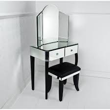 antique vanity dressing table with three fold white wooden frame