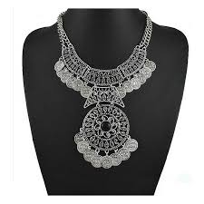 silver pendant choker necklace images Long chain multi layer necklace jpg