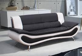 polyuréthane canapé canapé fixe design 3 places en pu noir blanc lalie canapé fixe
