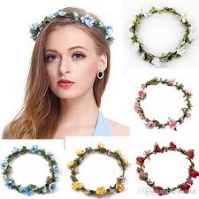 floral headdress bohemian terylene flower headband garland crown festival wedding