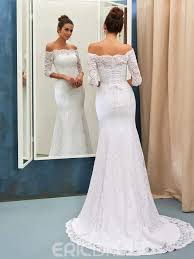 eric dress ericdress lace mermaid the shoulder wedding dress with sleeves