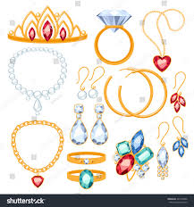 clip on earrings accessorize set jewelry items gold gemstones precious stock vector 241949566