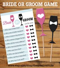 bride or groom printable game with matching props bridal wedding