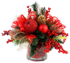 Traditional Christmas Decor Iced Apple And Berry Floral Arrangement Red Gold And Green