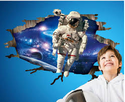 3d astronaut came through outer space wall art mural decal sticker see larger image
