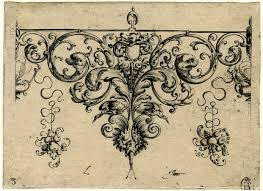 ornament design with grotesque acanthus leaves and bird wings