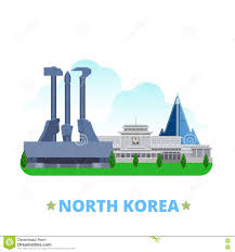 north korea country design template flat cartoon s stock vector