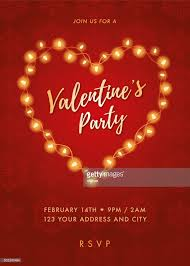 valentines day lights valentines day party invitation with lights heart vector