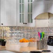 kitchen design white tile backsplash ornament fleur de lis