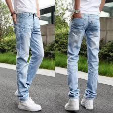 Guys Wearing Skinny Jeans Male Male Spring Jeans Slim Straight Denim Trousers Light Color